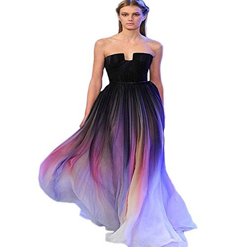 BKSKK Womens New Gradient Colorful Sexy Dresses Chiffon Pleats Prom Dresses US 8 * Details can be found by clicking on the image.