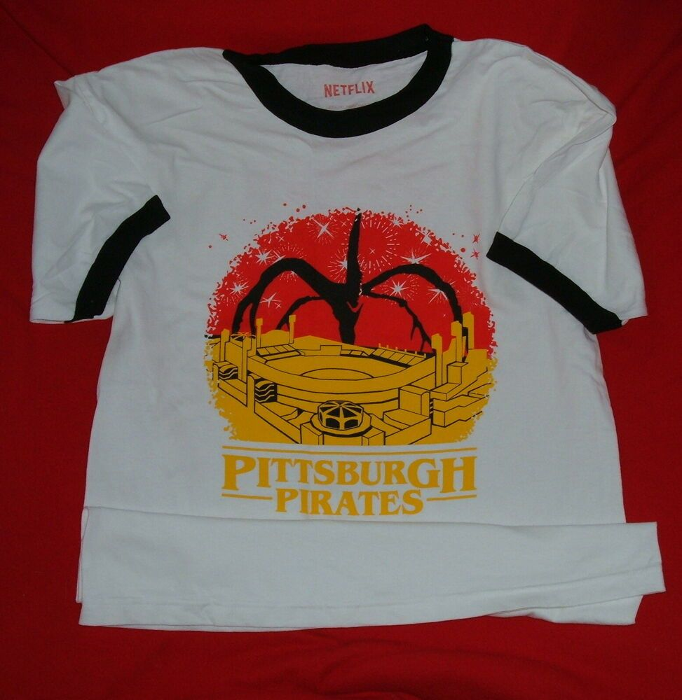 best website ddd68 d3079 Pittsburgh Pirates Baseball Stranger Things T Shirt Promo ...