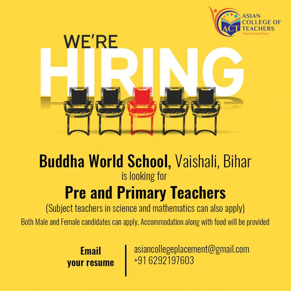 Pre And Primary Teachers Recruitment In Buddha World