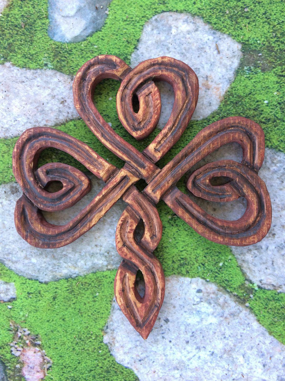 Carved wood shamrock knot wood clover knot carved celtic knot