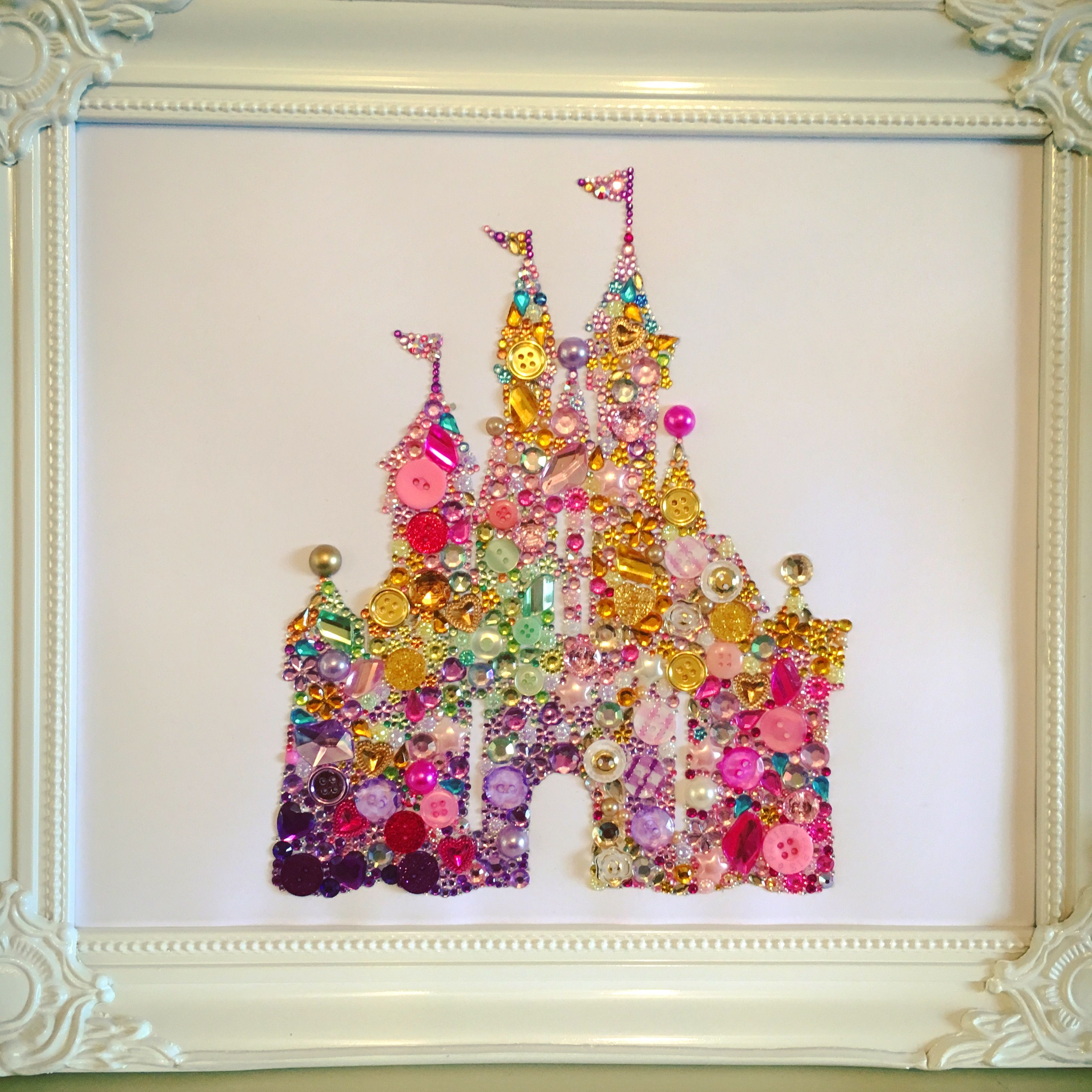 handmade disney castle swarovski crystal / button frame. easy