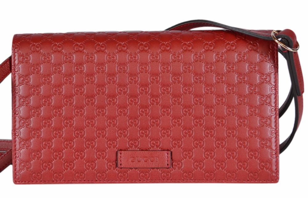 4055ce7e21dd NEW Gucci 466507 Red Leather Micro GG Guccissima Crossbody Wallet Bag Purse  #Gucci #MessengerCrossBody