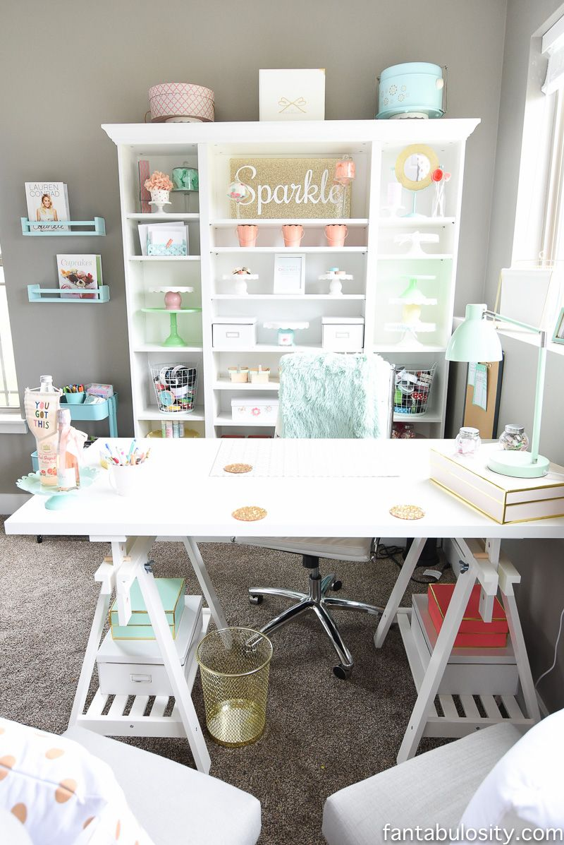 Home office desk idea : white IKEA custom | Craft Room Ideas ...