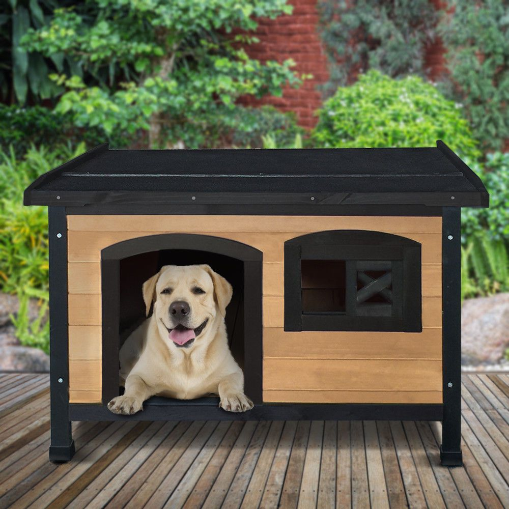 Pet Dog Kennel House Timber Wooden Log Cabin Wood Indoor Outdoor