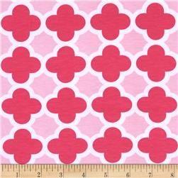 Riley Blake Stretch Cotton Jersey Knit Quatrefoil Hot Pink/Baby Pink
