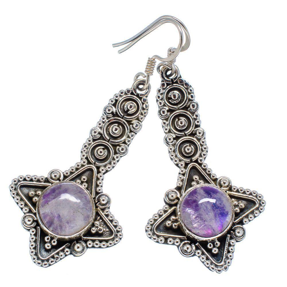 """Rainbow Moonstone 925 Sterling Silver Earrings 2 1/4"""" EARR301059"""