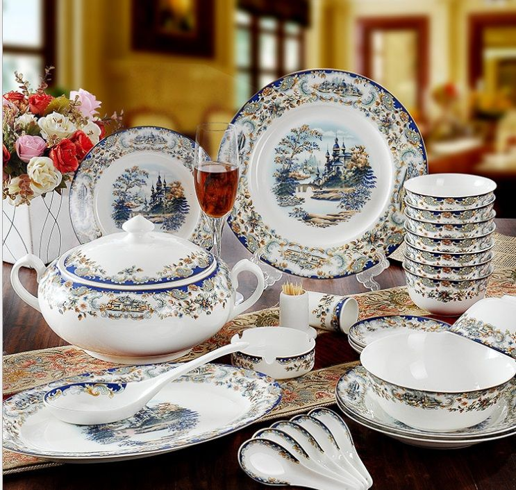 Guci Tableware Glaze Jingdezhen 56 Pieces Bone China Tableware Sets Edinburgh Wedding Gifts Housewarming Glaze Tableware Set China Crockery Dinnerware Sets