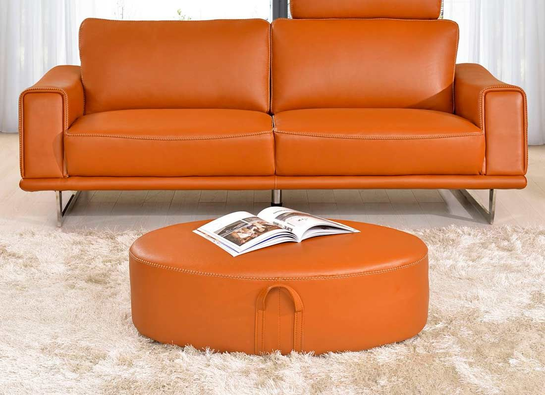 Orange Leather Sofas Bright Look With Warm And Comfortable
