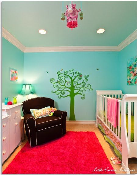 Baby Girlu0027s Happy Room!   Design Dazzle (donu0027t Care For The Dark Chair,  Love The Bird Cage, Aqua Walls, White Furniture W Pink Accents)