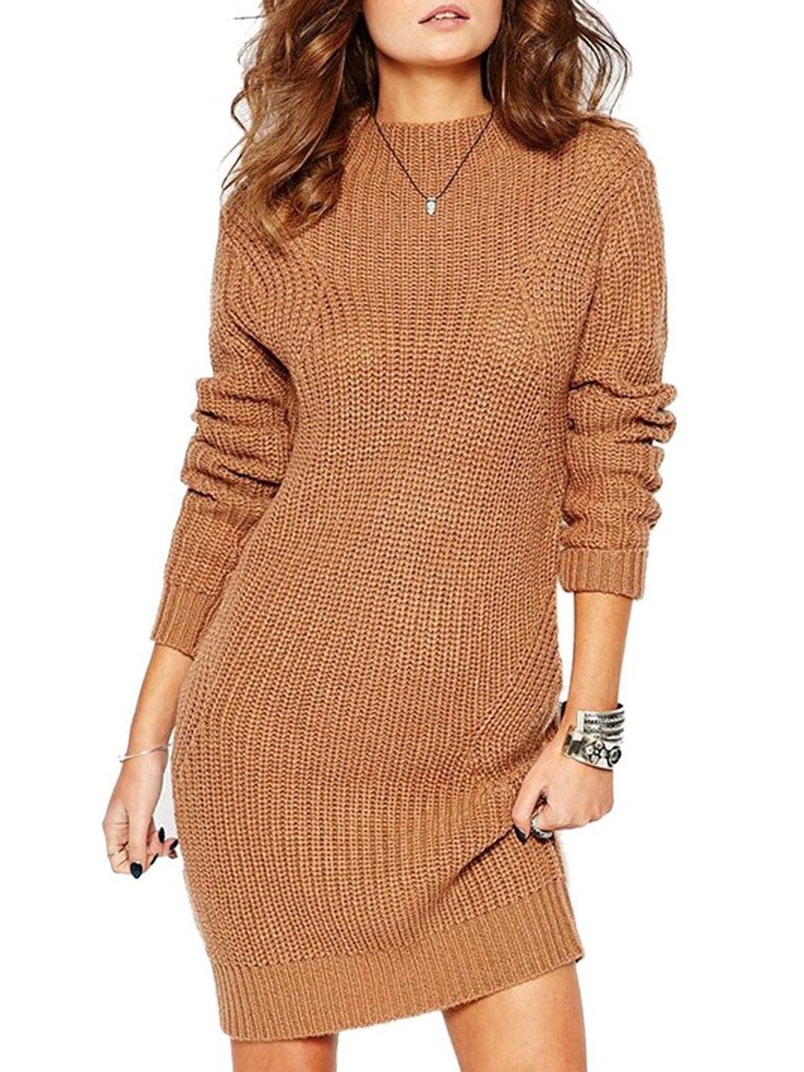 55b1bbb6834 Choies Women s Brown High Neck Cable Chunky Knit Sweater Dress at Amazon  Women s Clothing store