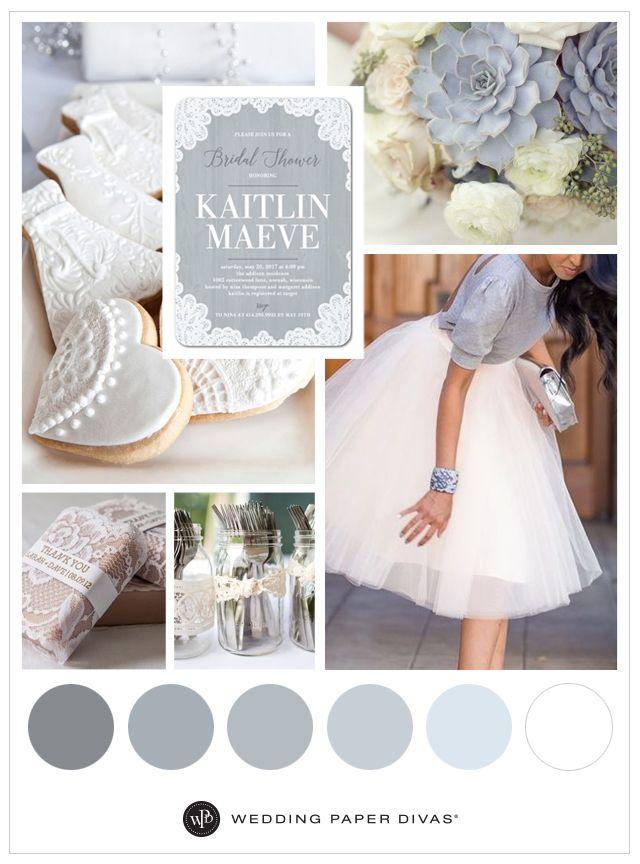 Lacy Bride - Signature White Bridal Shower Invitations - Grey ...