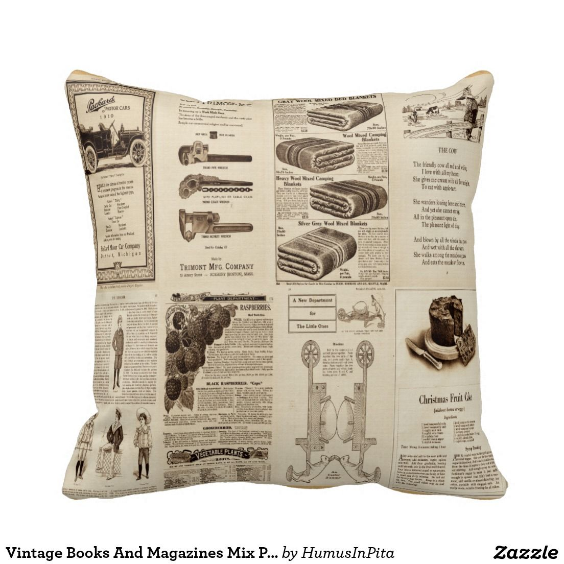 Vintage Books And Magazines Mix Pillow