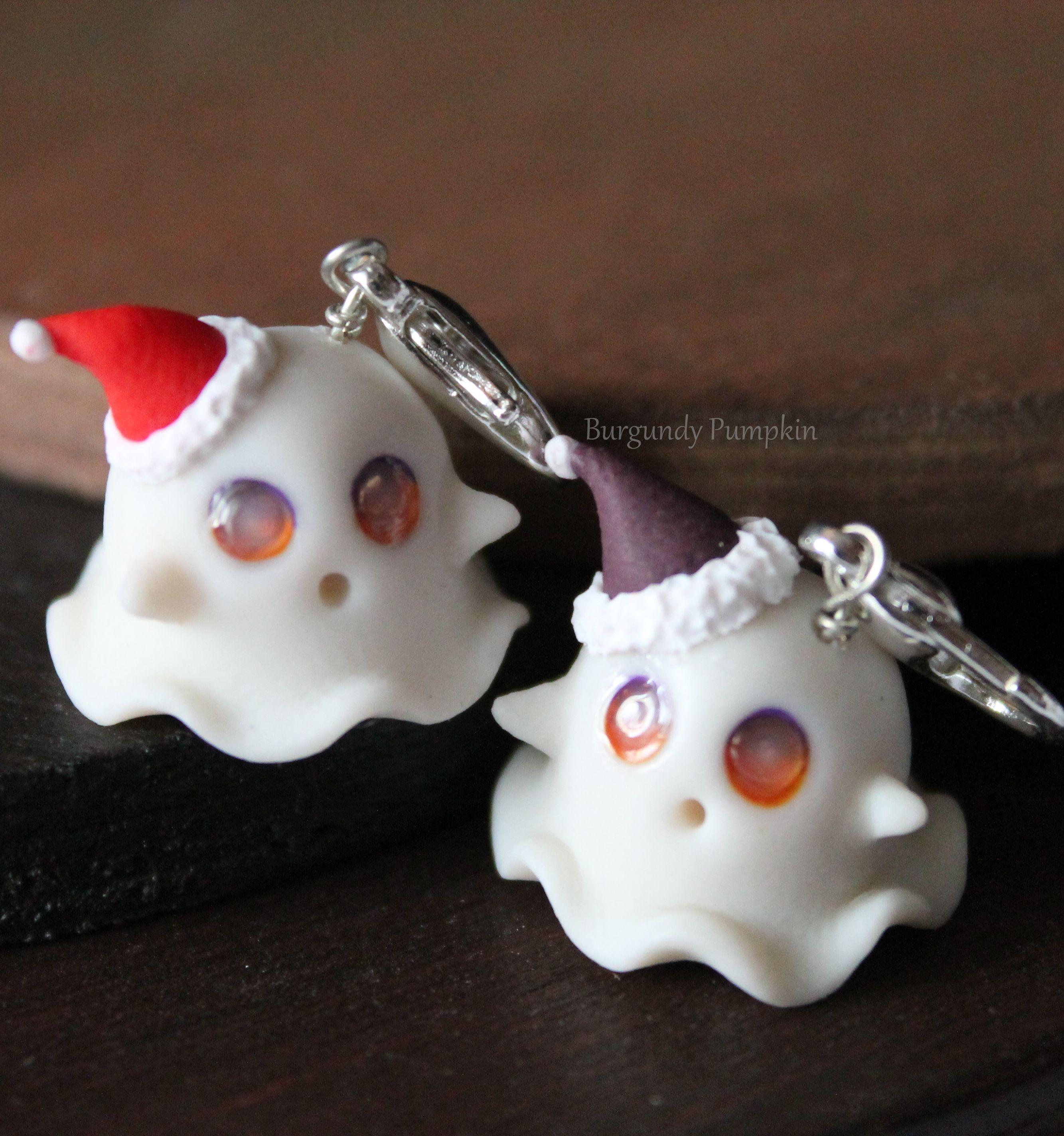 custom eye color glow in the dark ghost charm, handmade with polymer