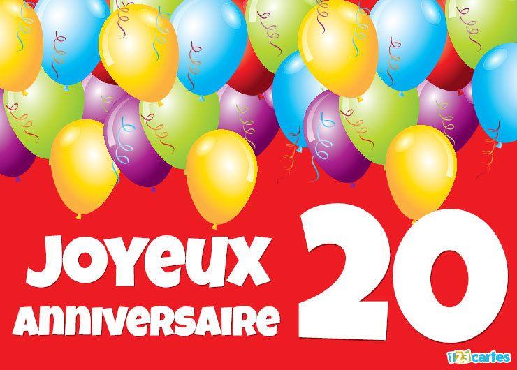 Carte Joyeux Anniversaire 20 Ans Ballons Multicolores Anniversaire