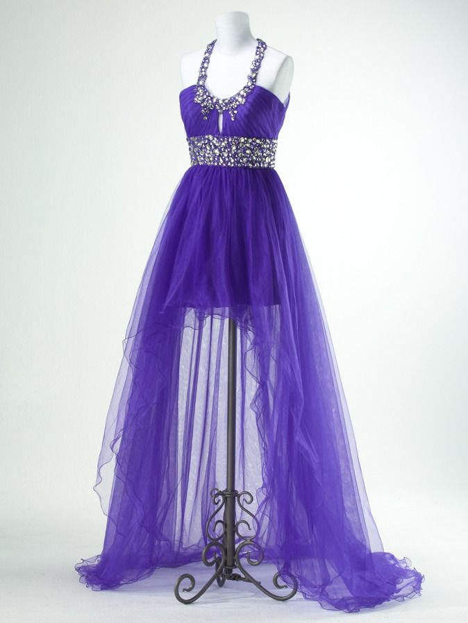 Purple evening dress with high to low sheer skirt and halter ...