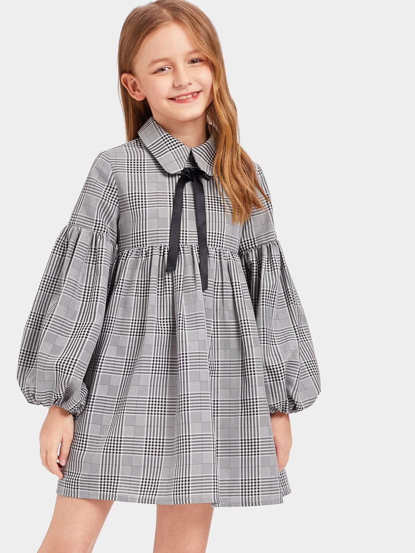 Girls Zip Back Lantern Sleeve Plaid Dress