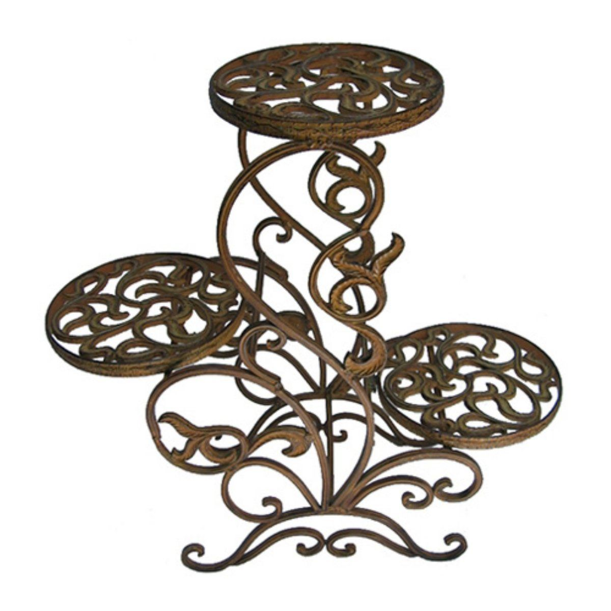 International Caravan Folding 3 Tier Iron Plant Stand In Bronze Plant Stands