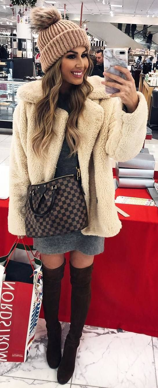 #winter #outfits grey sweater dress, beige coat, hat, brown long boots, bag