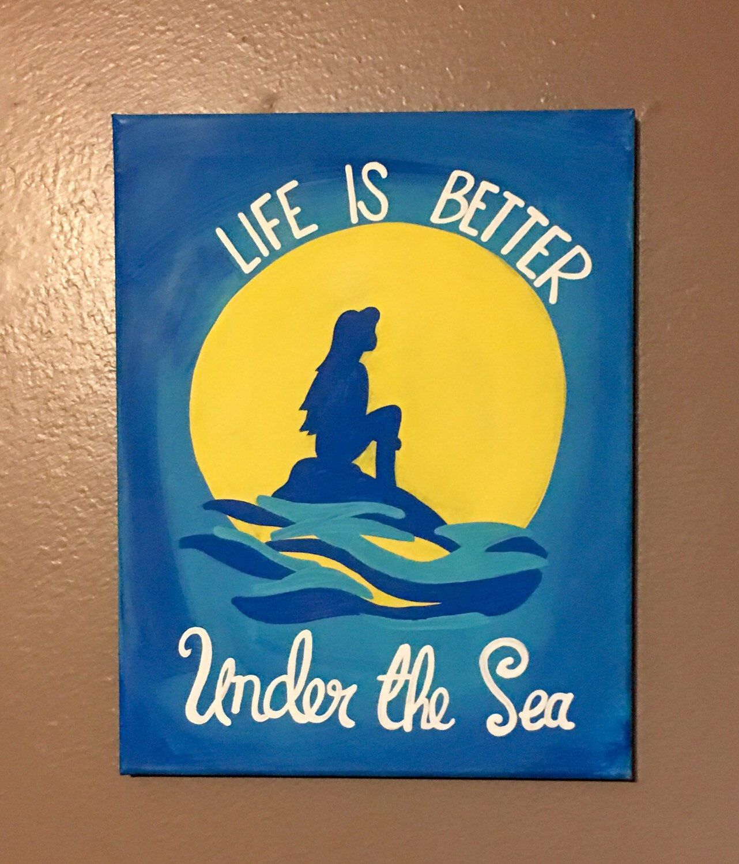 Little Mermaid Hand Painted Canvas Disney Canvas Art Disney Canvas Disney Canvas Paintings