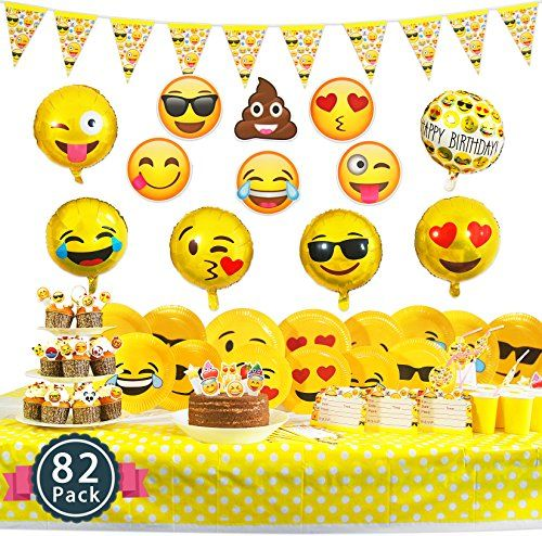 Melonboat Emoji Party Supplies 82 Ct Birthday Decorations Kit Face Cards Foil Balloons Tablecloth Cupcake Toppers Paper Plates Straw Decor