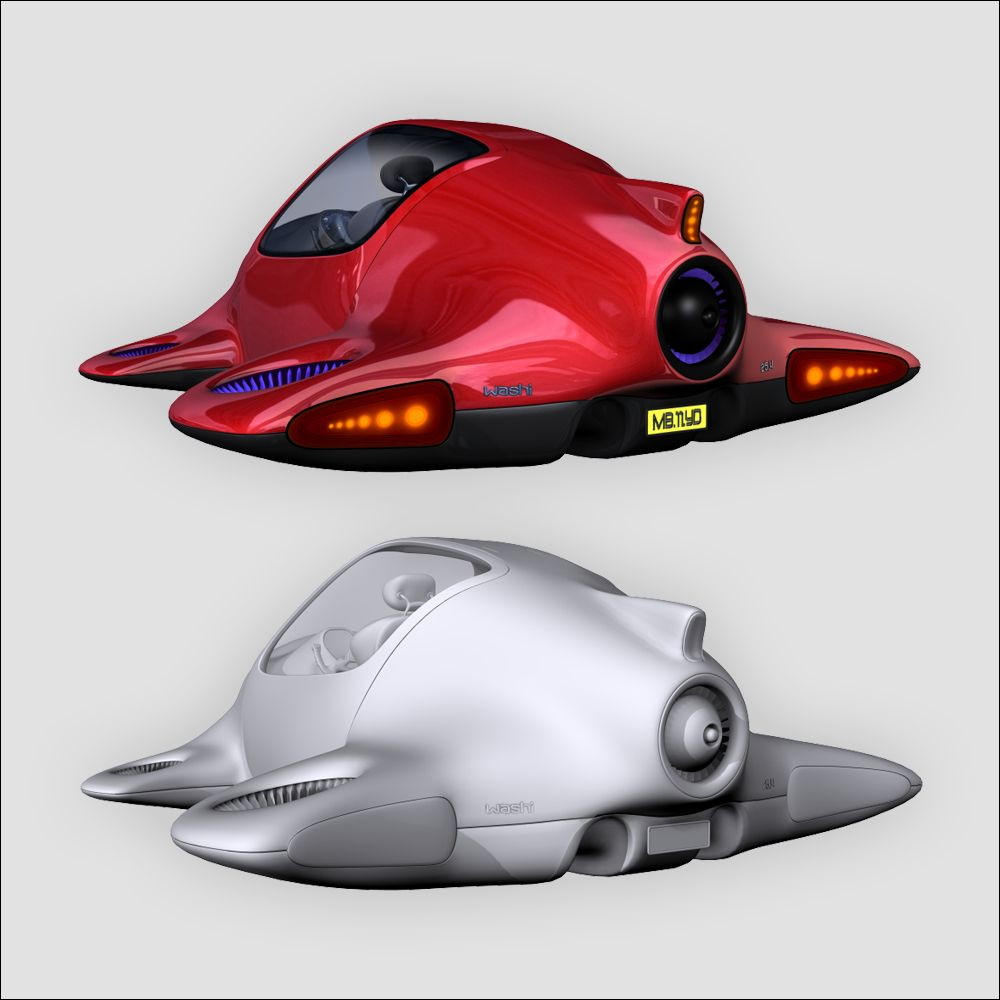 Future Car 3D Model Flying Car, With Texture