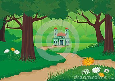 Mosque On The Forest With Beautiful Natural Scenery Cartoon Design Beautiful Natural Scenery Cartoon Design Scenery