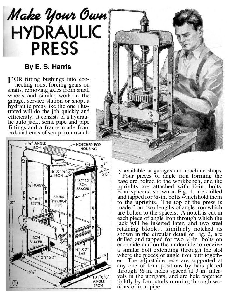 Readable article on how to build a hydraulic press for