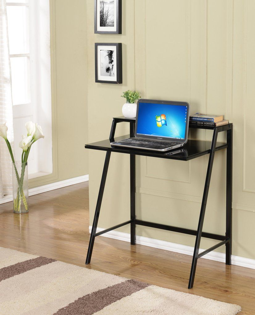 Black Or White Metal U0026 Tempered Glass Top Home U0026 Office Computer  Workstation Desk Writing Table