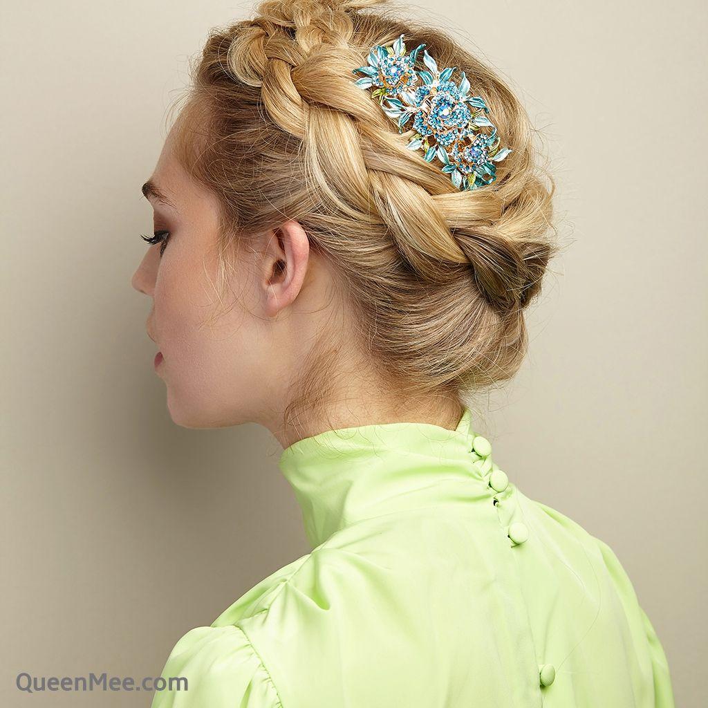 diamante hair clip wedding hair accessory large rose hair