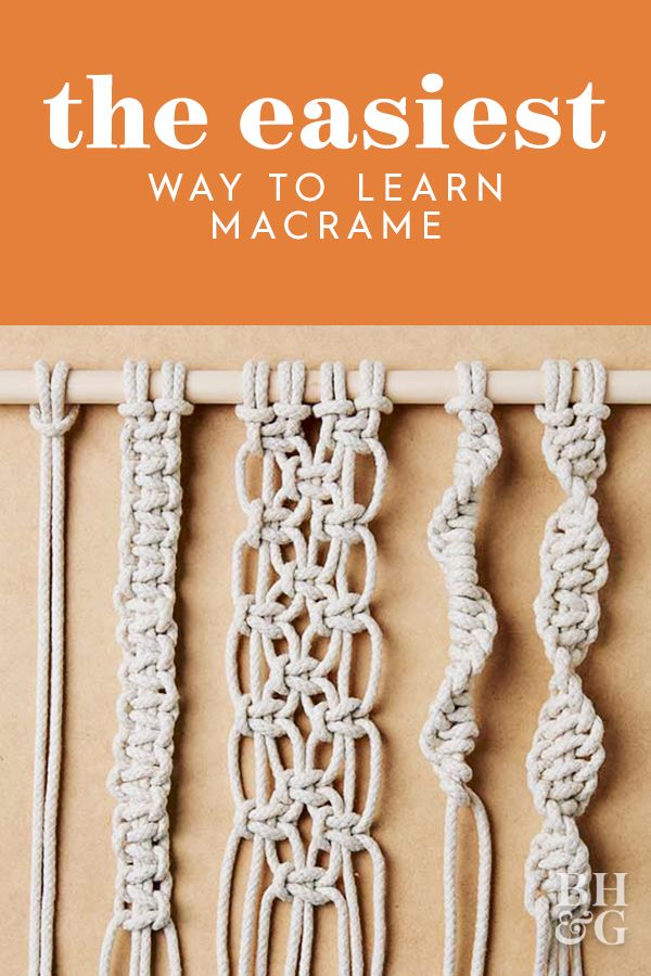 Macrame is the perfect activity for when you're bored at home. Learn how to tie four must-know knots essential to macrame. #macrame #howto #crafting #boredathome #bhg