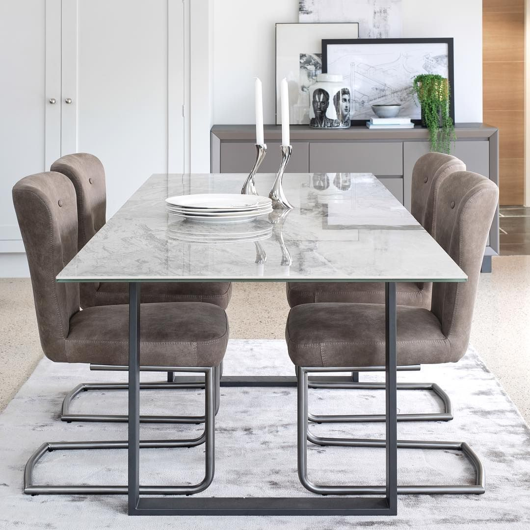 Ceramic marble effect table top, modern dining room  Grey dining