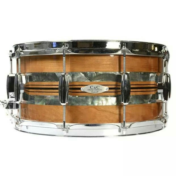 C&C 7x14 Custom Cherry/Poplar Snare Drum w/Cherry Re-Rings, Black Mother of Pearl Abalone and Pinstripe Inlays