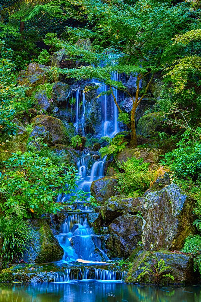 The Waterfalls of the Portland Japanese Garden by William