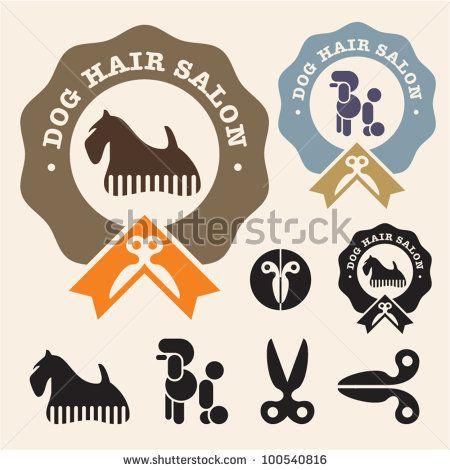 Dog Hair Salon Poodle Scottish Terrier Vector Icon Set