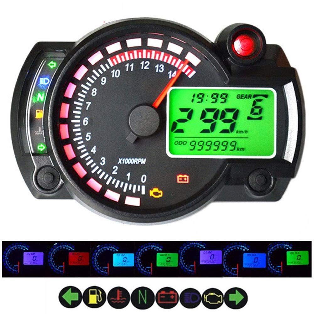 Fidgetfidget Motorcycle Digital Speedometer Analog 14000rpm