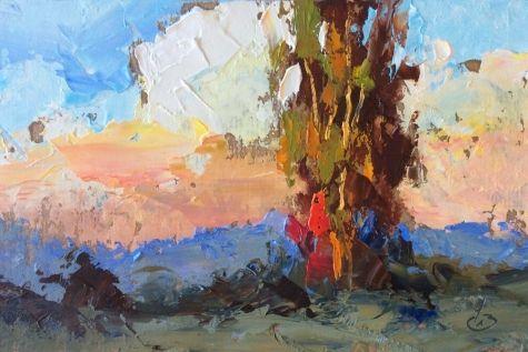 DRAMATIC PALETTE KNIFE LANDSCAPE by TOM BROWN -- Tom Brown