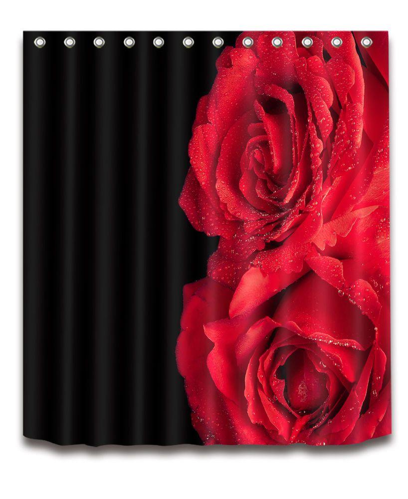 Red Bloom Rose On Black Shower Curtain Set Waterproof Fabric