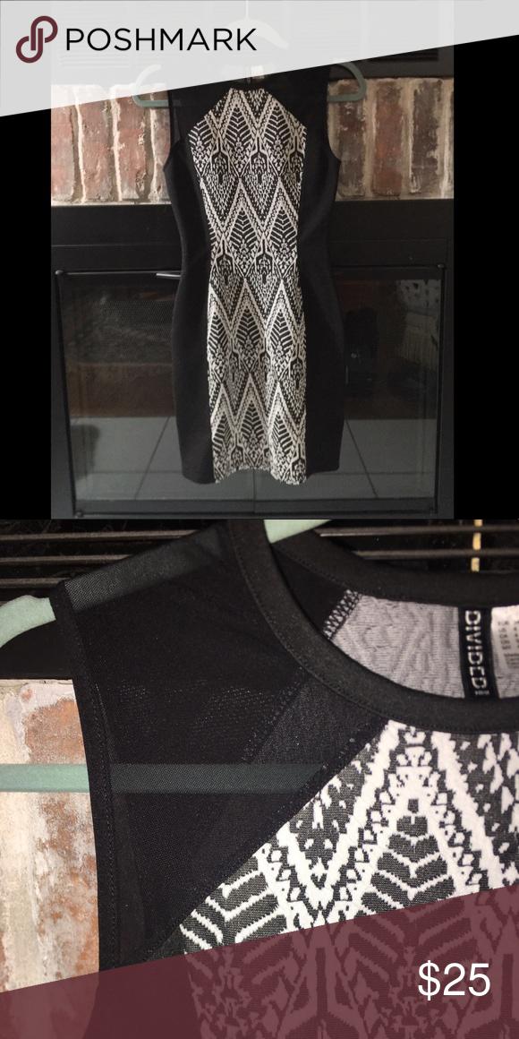 c654bd566da2 H M Black and White Bodycon Dress Like new bodycon dress with fabulous  pattern