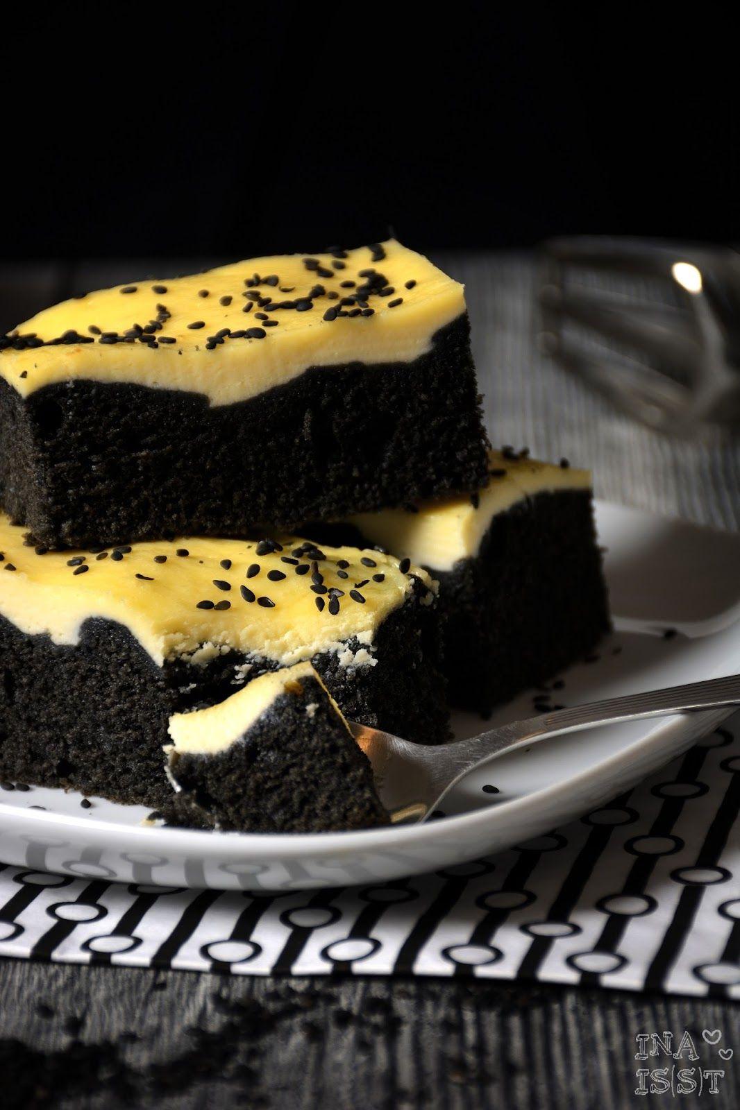 Ina Is(s)t: Schwarzer Sesamkuchen mit Käsekuchendecke / Black sesame cake with cream cheese topping