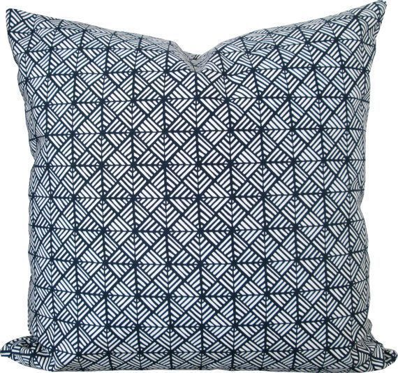 Items similar to Navy Blue Fretwork-Designer Decorative Pillow Cover-Asian-Accen Items similar