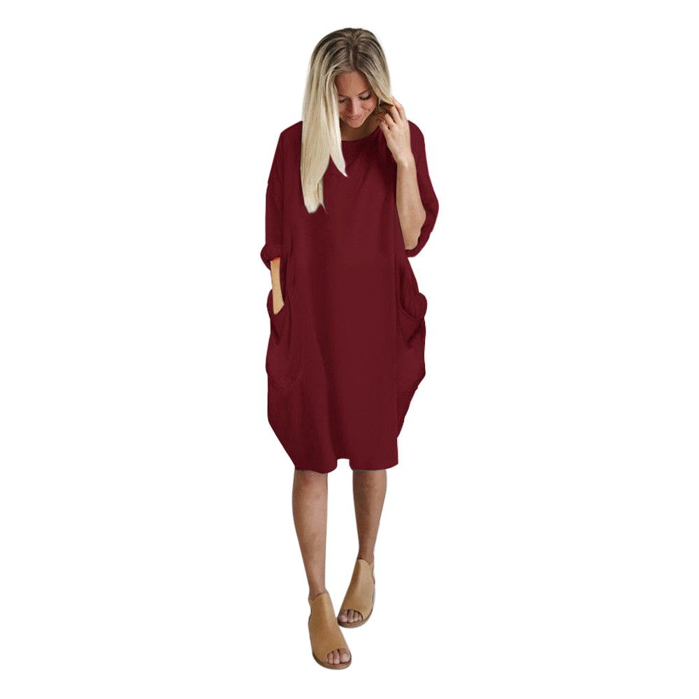 d31841fee Summer Womens Fashion Pocket Crew Neck Casual Long Dress – ebuytrends
