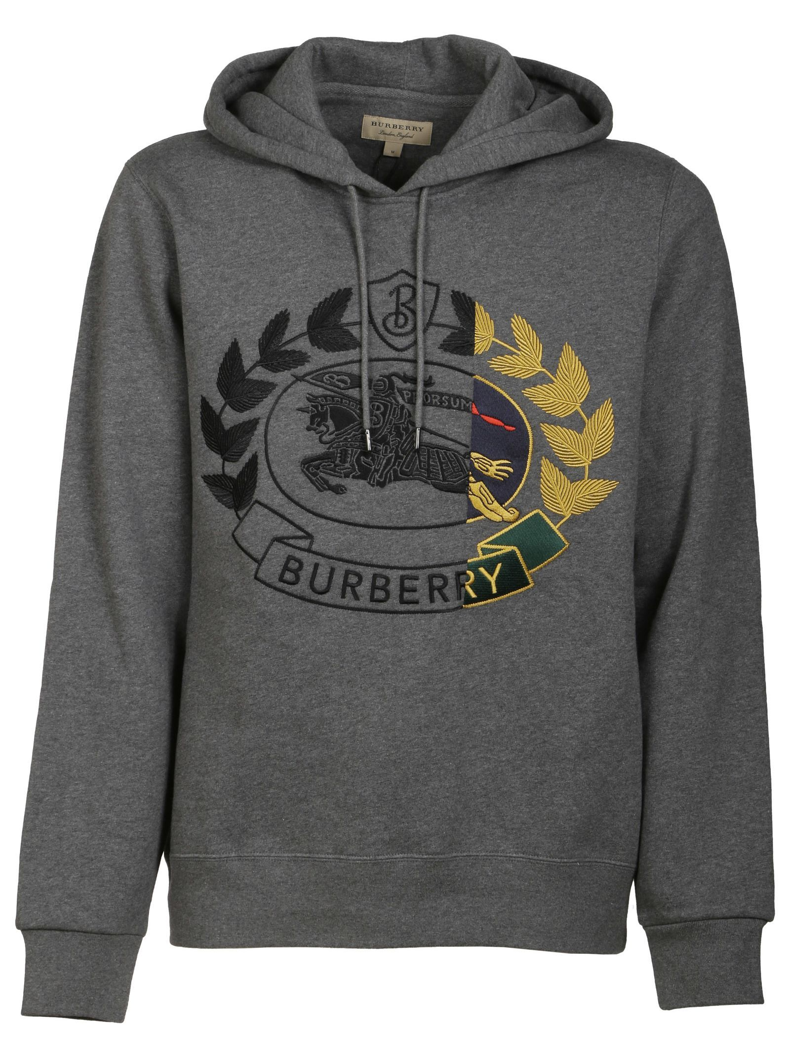 Burberry Contrast Embroidered Crest Logo Hoodie In Grey Modesens Hoodies Embroidered Crests Crest Logo [ 2136 x 1600 Pixel ]