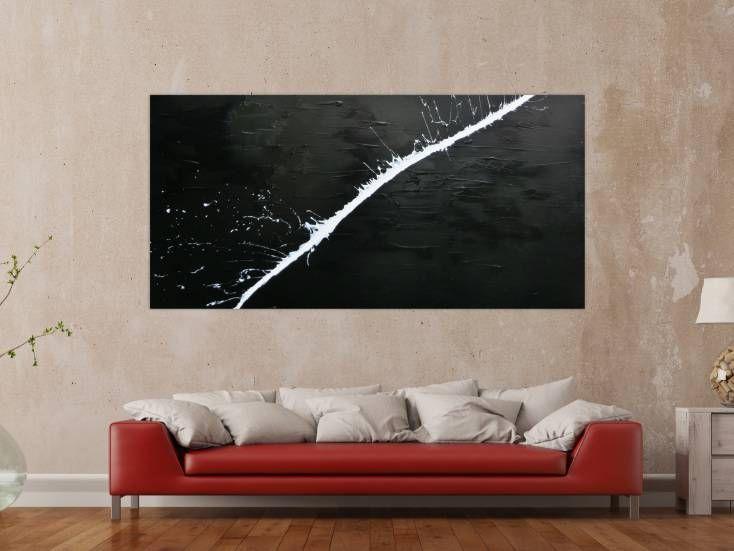 minimalistisches acrylgemalde abstrakt moderne kunst schwarz weiss 100x200cm von alex zerr gemalde abstrakte großes abstraktes bild