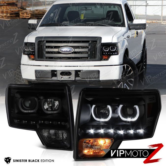 For 2009-2014 Ford F150 LED Dual Halo Projector Headlights Lamps Black Clear