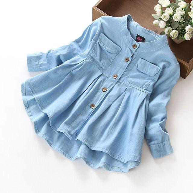5330d3601 Nueva Primavera 2016 Niñas blusas y Camisas de mezclilla Niña Ropa Casual  Tela Suave Ropa de Los Niños Niños niñas Camisa de la blusa
