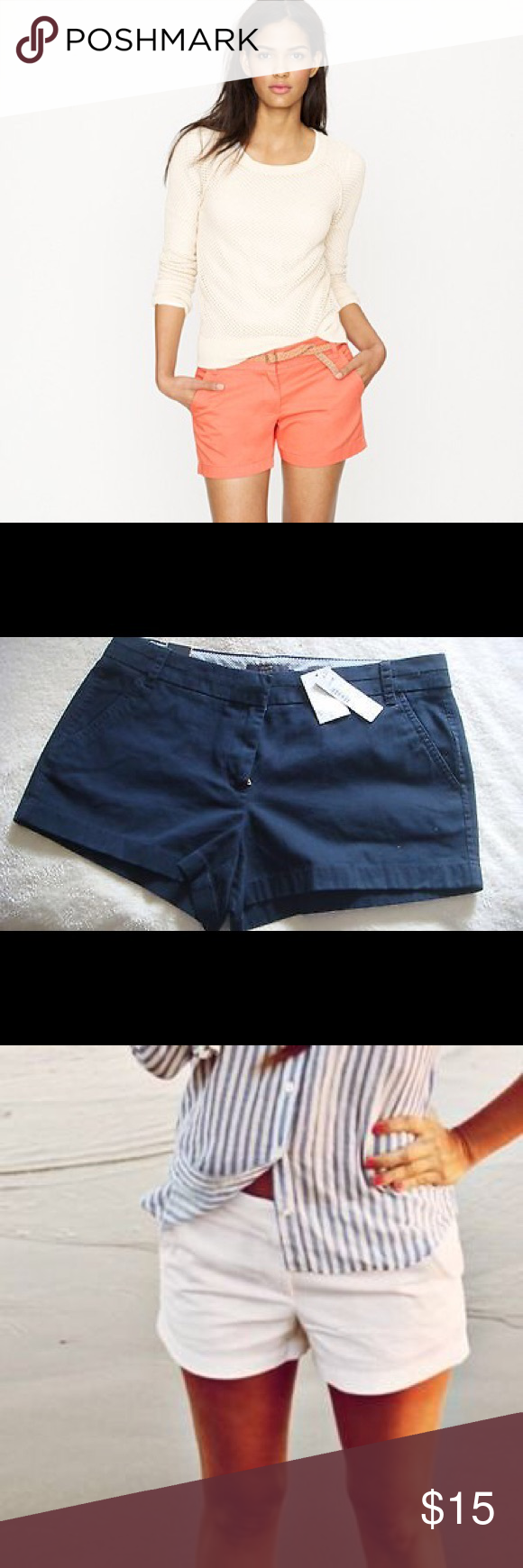 J. Crew Shorts Never Worn J. Crew 3'' Chino Shorts. Several colors available including: pink, flamingo, tan, navy blue, white, coral, maroon, and more! J. Crew Shorts