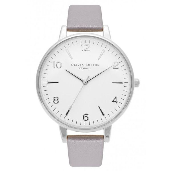 Olivia Burton Modern Vintage Large White Face Watch - Grey Lilac &... ($115) ❤ liked on Polyvore featuring jewelry, watches, grey watches, leather strap watches, dial watches, silver jewelry and silver dial watches