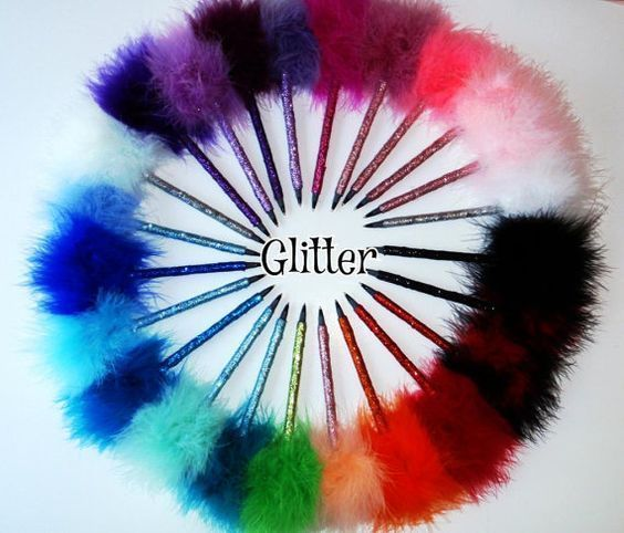 Girly Fuzzy Pens Clueless Glitter Wedding Birthday Party Favors