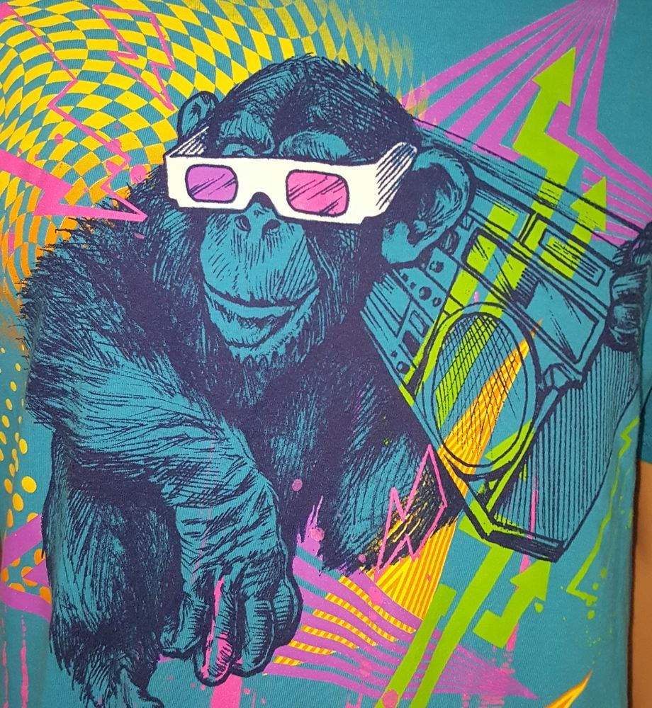 Retro light blue gorilla boombox 3d glasses pink yellow 80s colors t shirt l jerzees graphictee