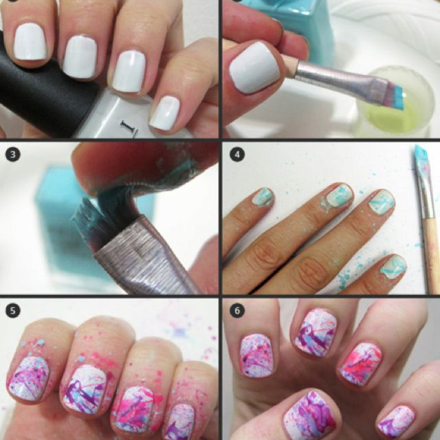 Paint Solid Color Then Using A Flat Tip Brush Splatter Other Colors Onto  Nails
